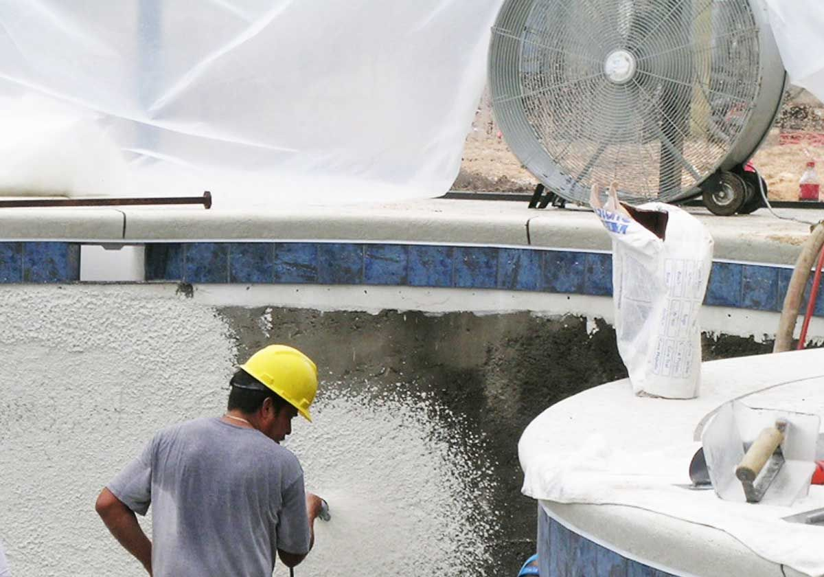 plastering the pool