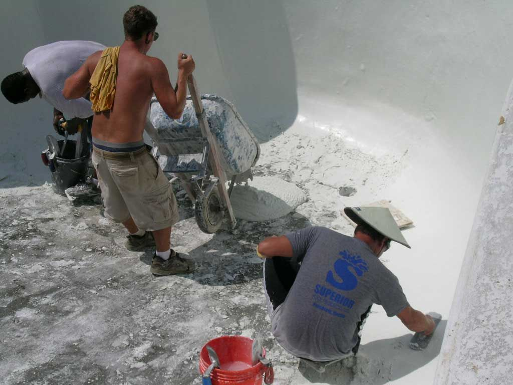 plastering the pool shell