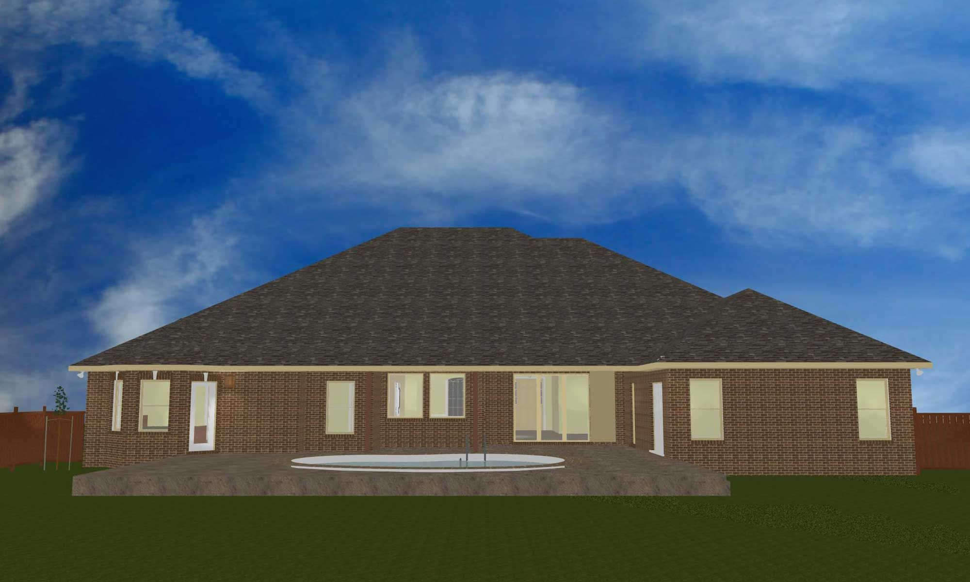 Black job rear elevation CAD model